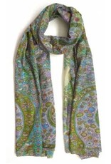 100%  Cotton Silk Screened Scarf Light Green/Blue Paisley