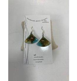 Hand Blown Glass Earrings Triangle, Ecuador