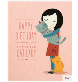Cat Lady Birthday Greeting Card