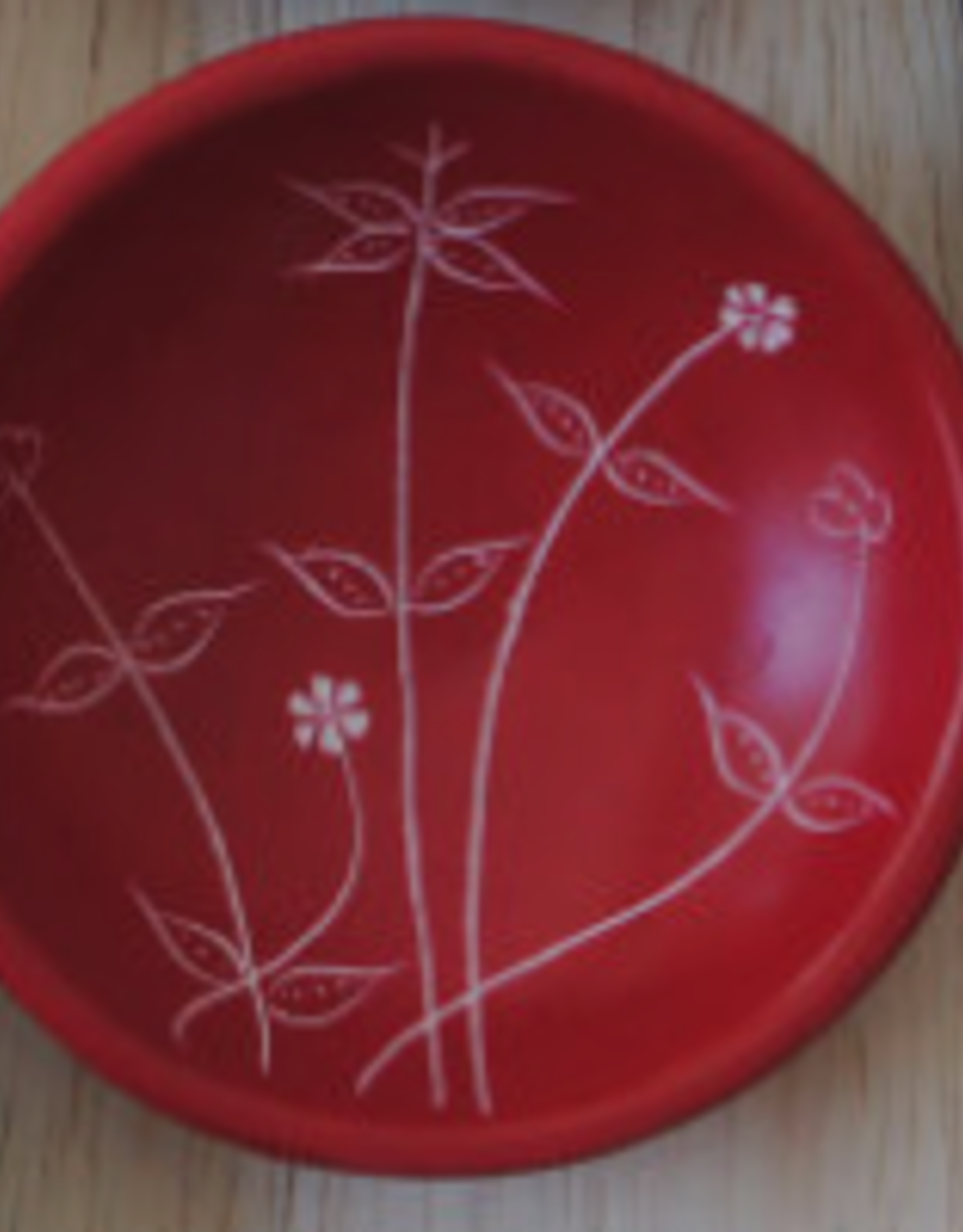Soapstone Small Round Spring Dish  Red
