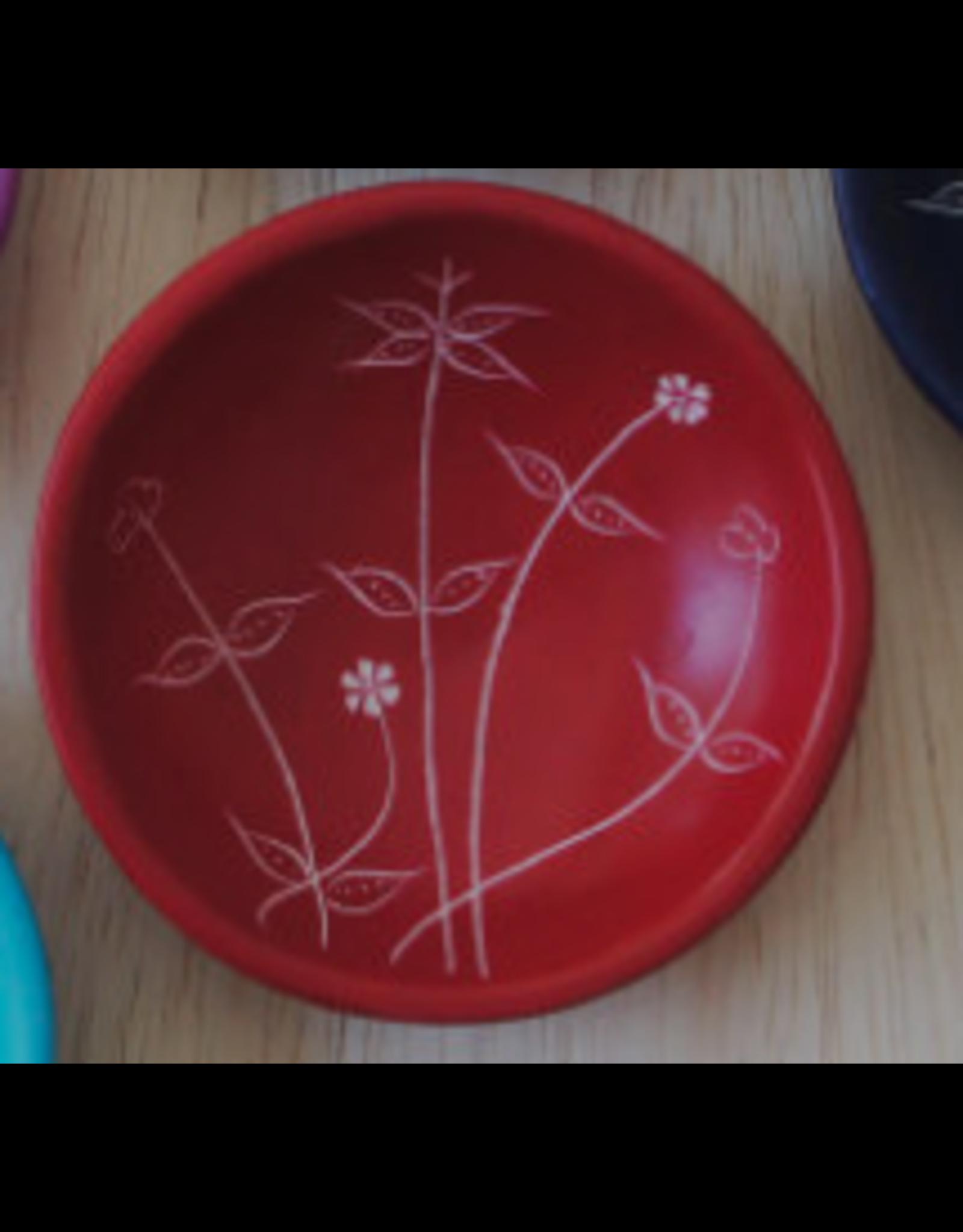 Small Round Spring  Soapstone Dish , Red, Kenya