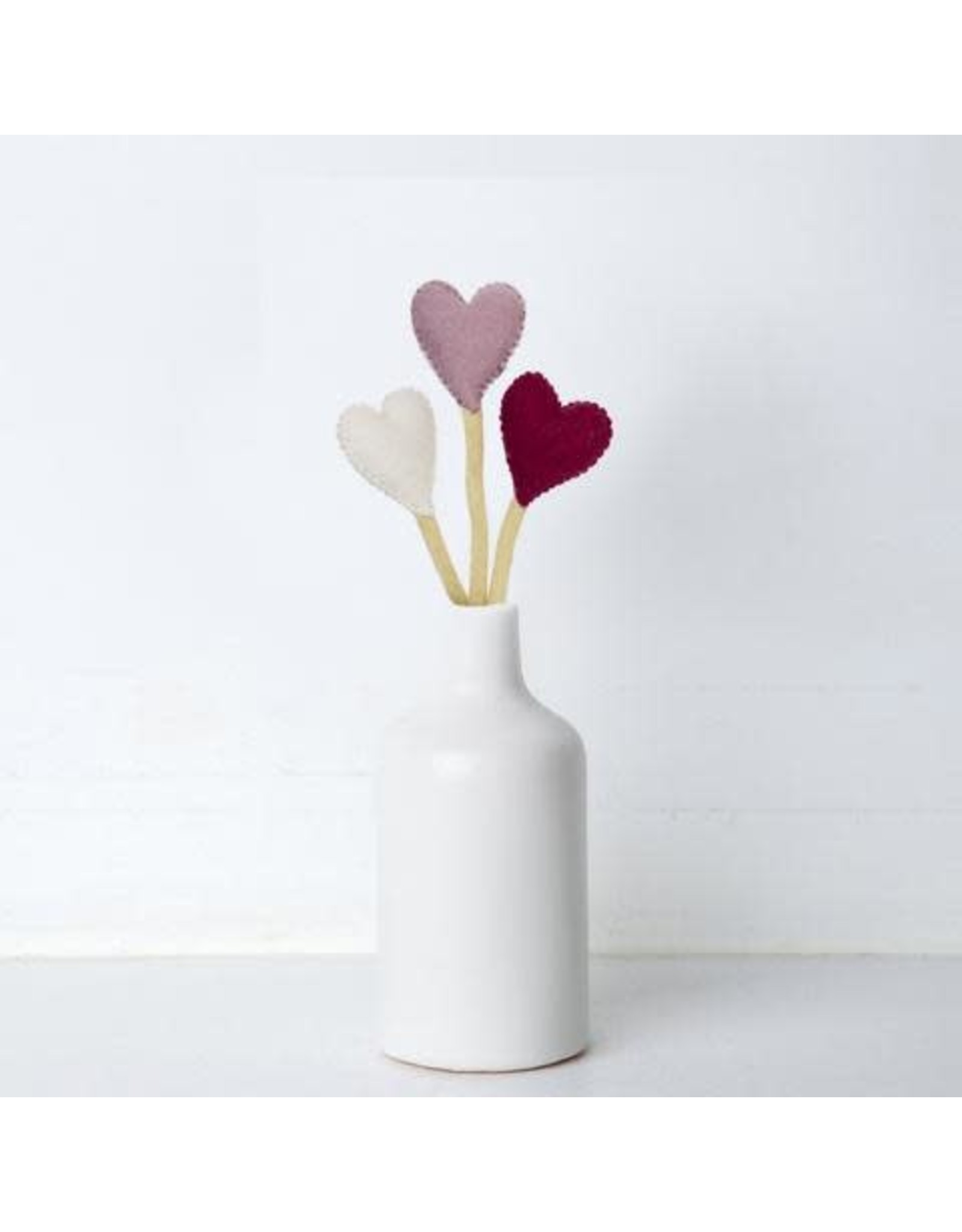 Nepal, Felt Heart Stems WHITE