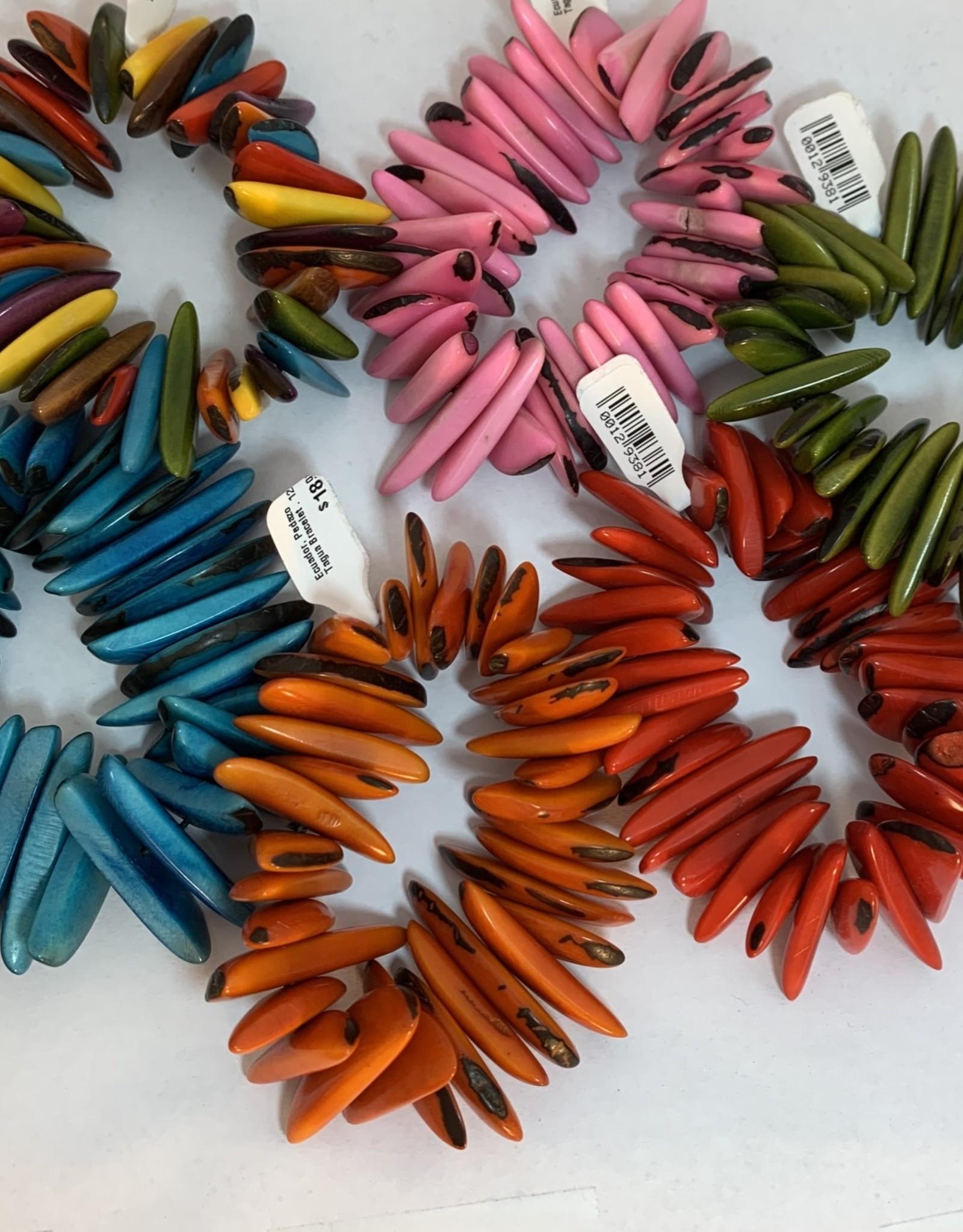 Ecuador, Pedazo Tagua Bracelet: MULTI COLOR,PINK,GREEN,TEAL,ORANGE,RED