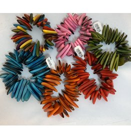 Pedazo Tagua Bracelet: MULTI COLOR,PINK,GREEN,TEAL,ORANGE,RED, Ecuador