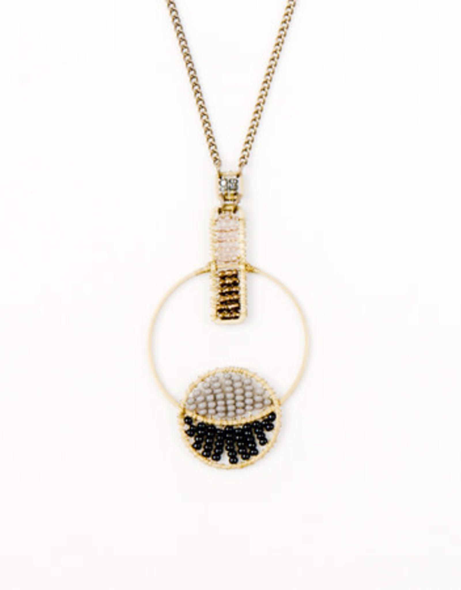 Colorblock Interlocking Hoop Necklace