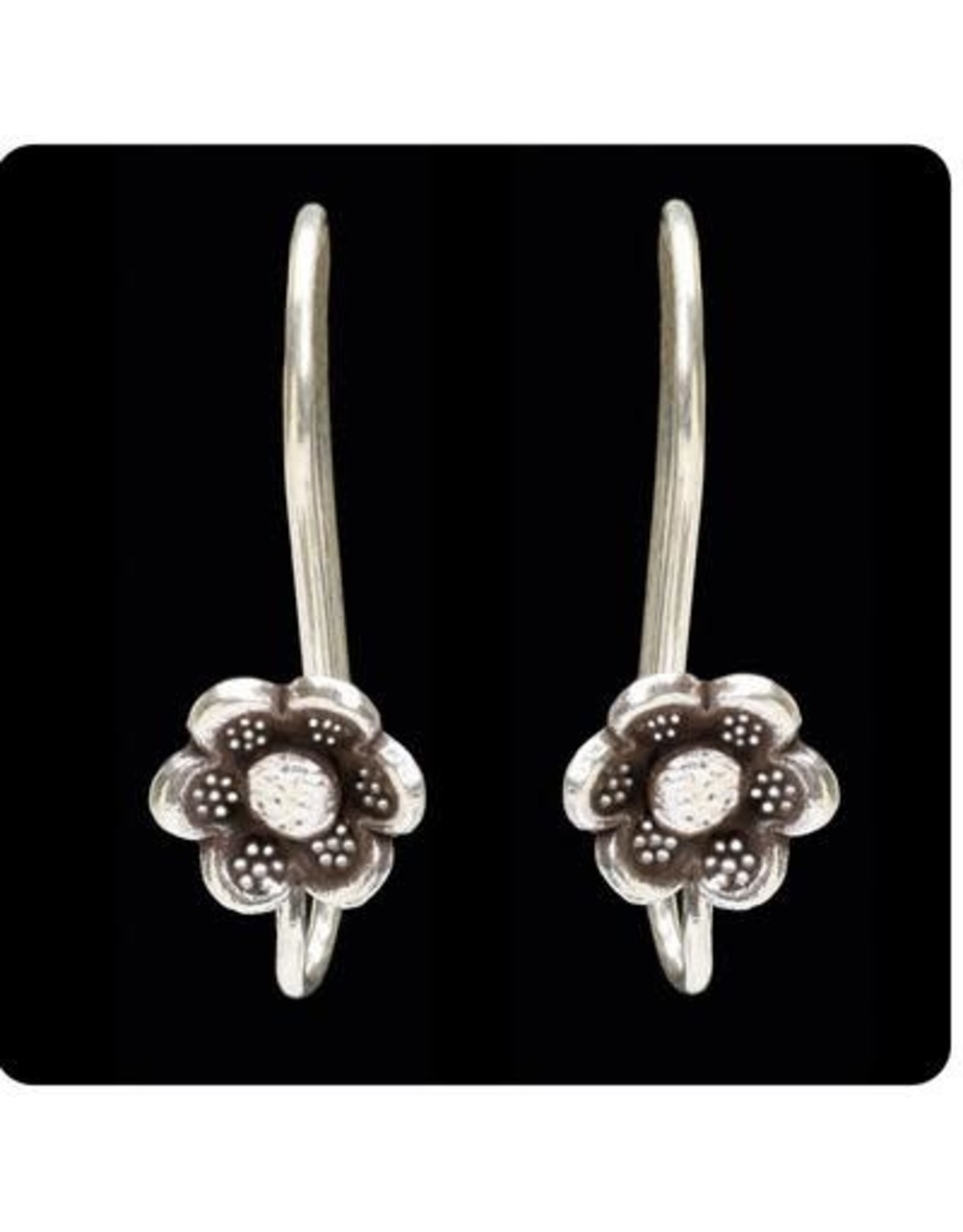 Sterling Tribal Hook Design w/ Flower