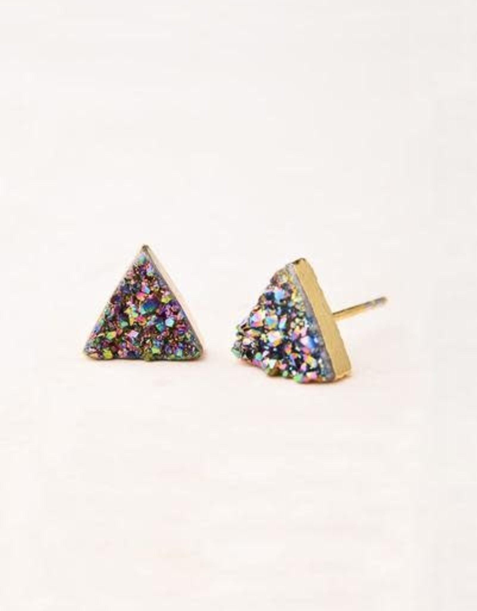 Kyra, Multicolored Druzy Stud Earrings