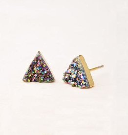 Kyra, Multicolored Druzy Stud Earrings