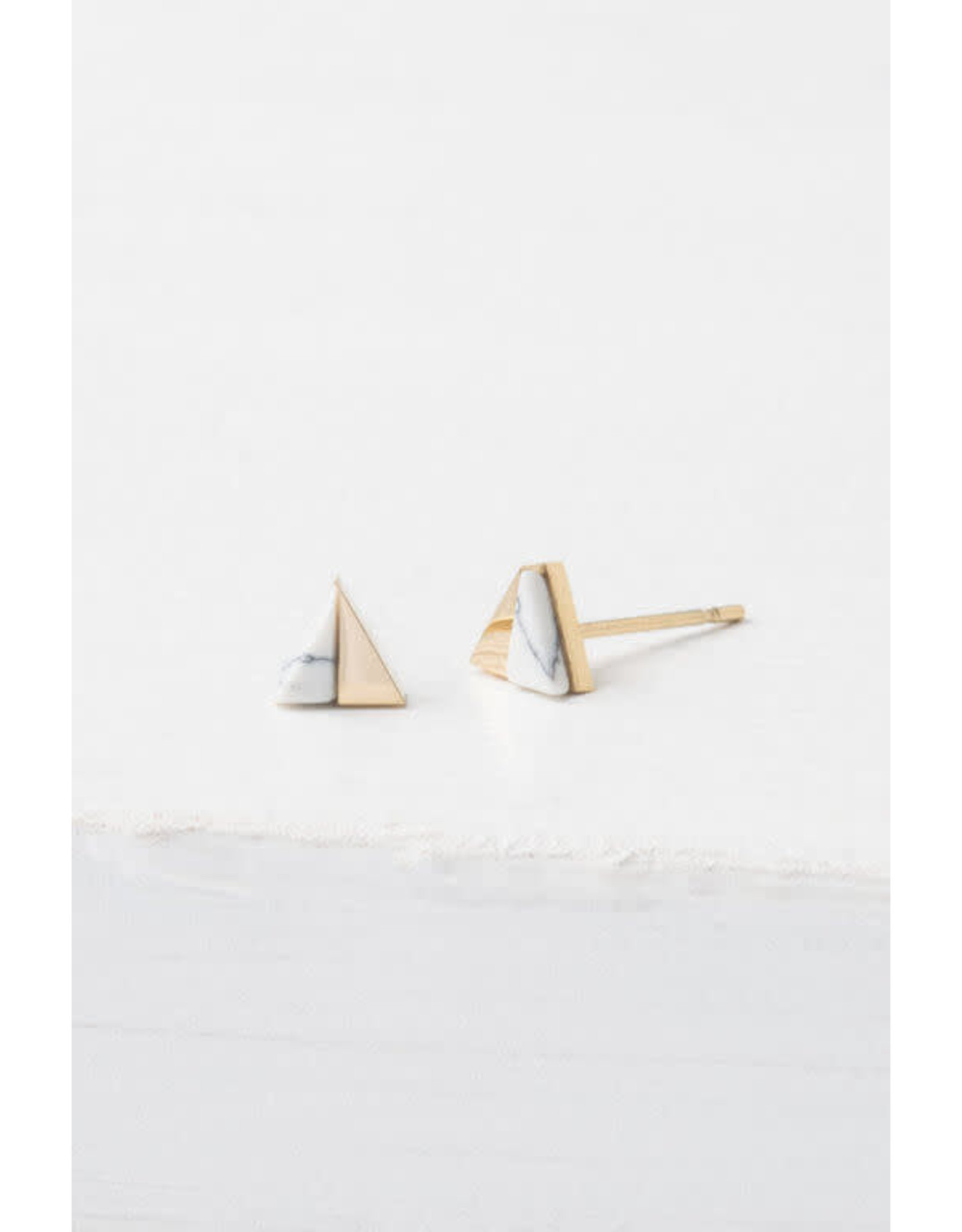 Cassia Gold and White Stud Earrings
