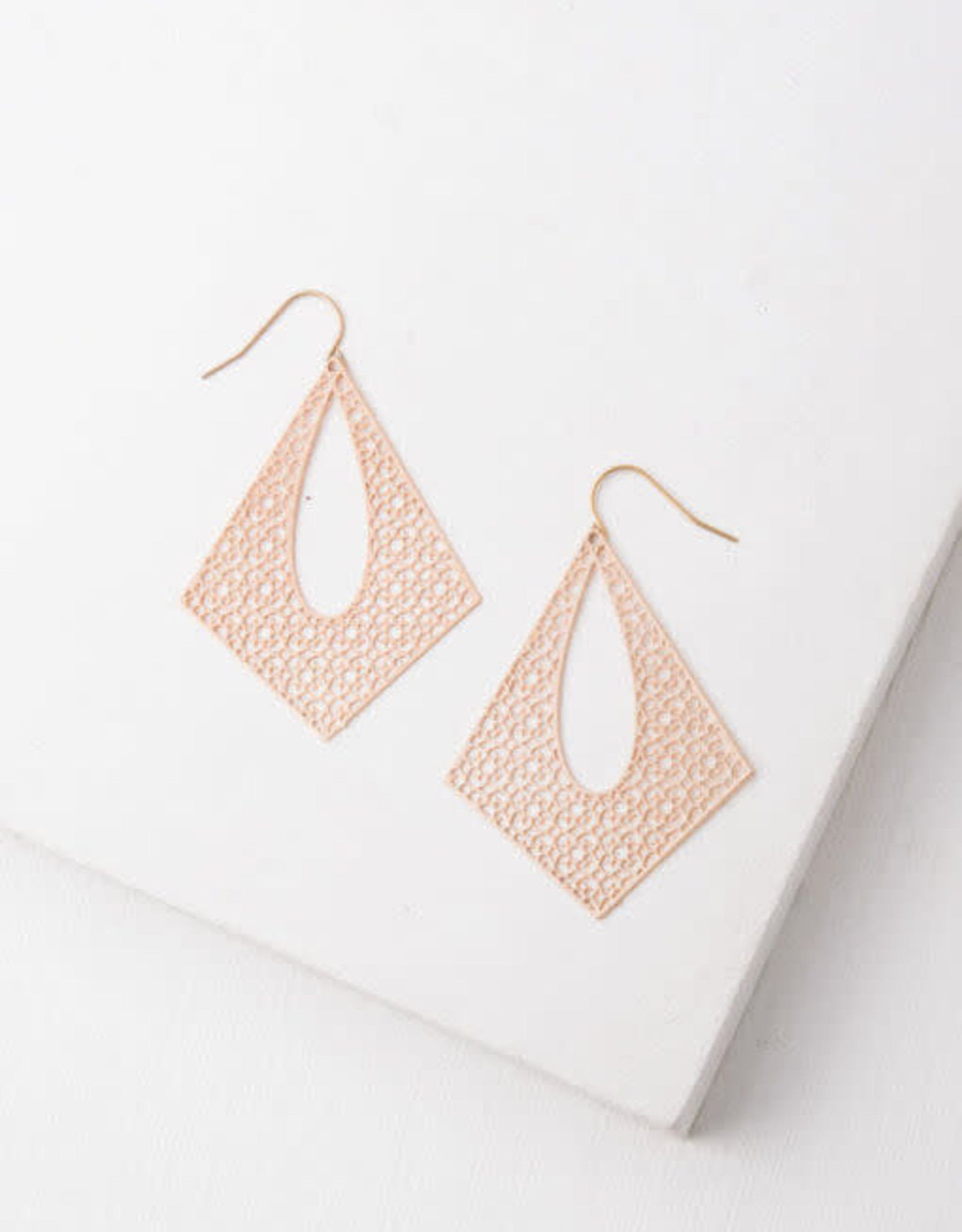 Everly, Gold Plated Filigree Dangle Earrings