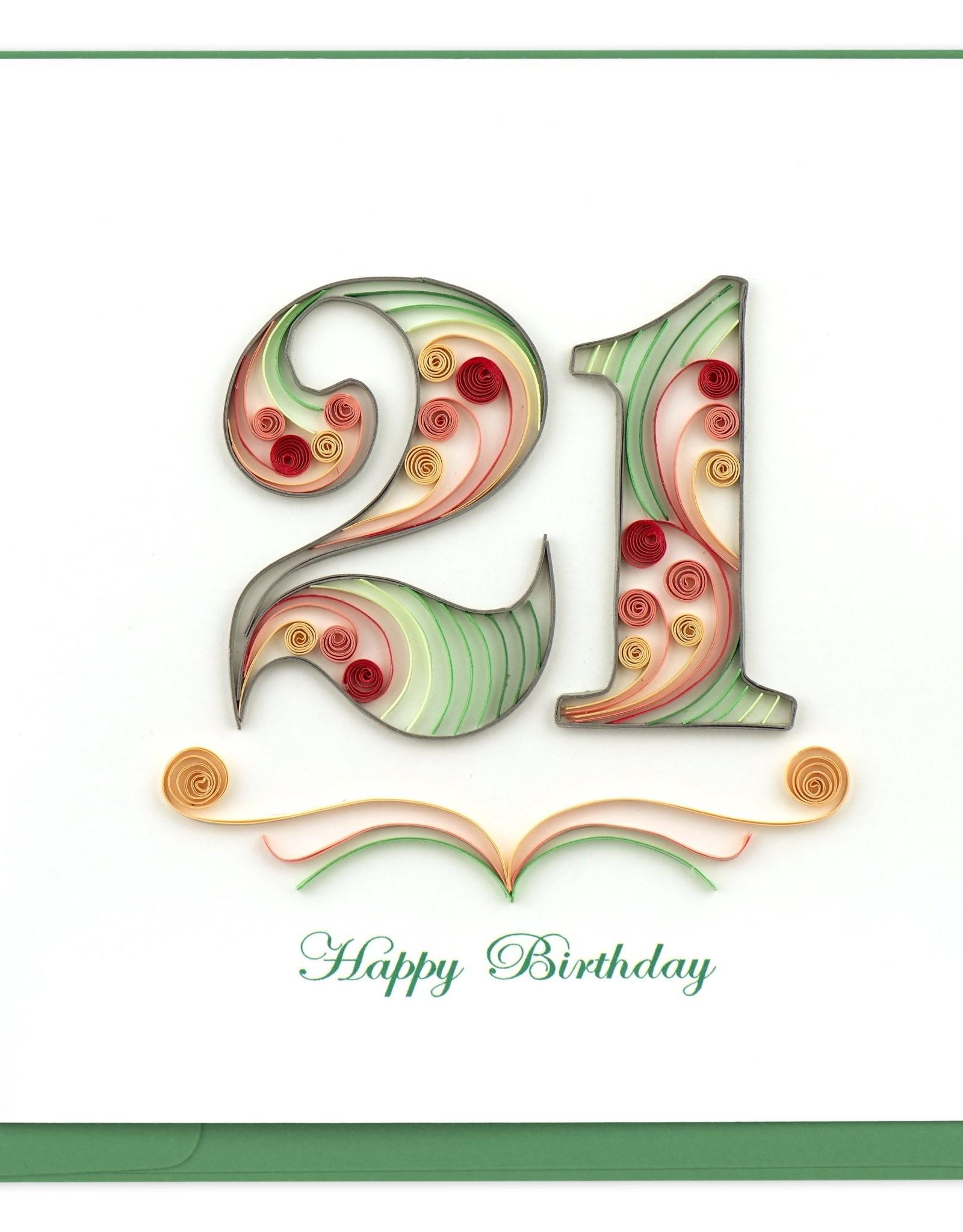 21st Birthday Quill Card