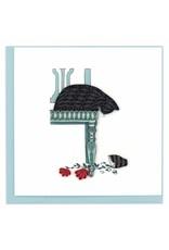 Black Cat and Broken Vase Quill Card