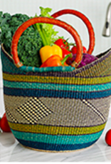 Blue & Teal Bolgatanga Boat Basket