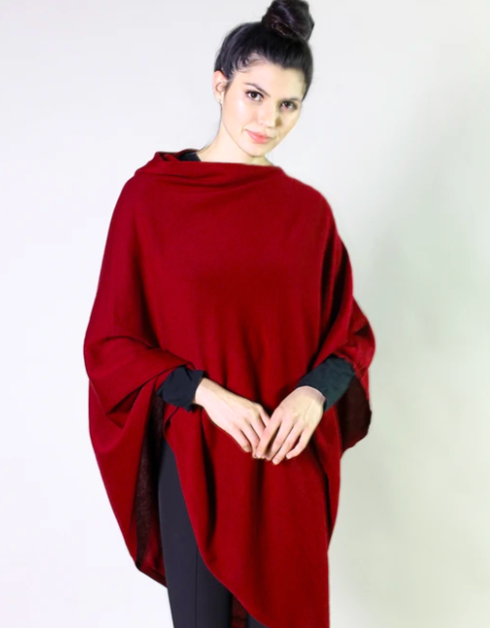 Organic Poncho, Colors  Cranberry Red heather