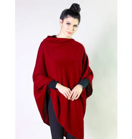 Organic Poncho, Cranberry Red Heather, India