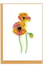 Vietnam,  Quill Enclosure Card Orange Poppies