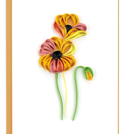 Vietnam,  Quill Enclosure Card Orange Poppies