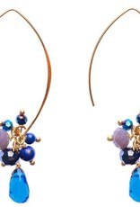 Jen Clustered Cyrstal Earrings, Navy