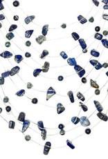 Thailand, Sarah Floating Necklace Navy Blue