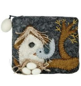 Nesting Bird Felted Coin Purse