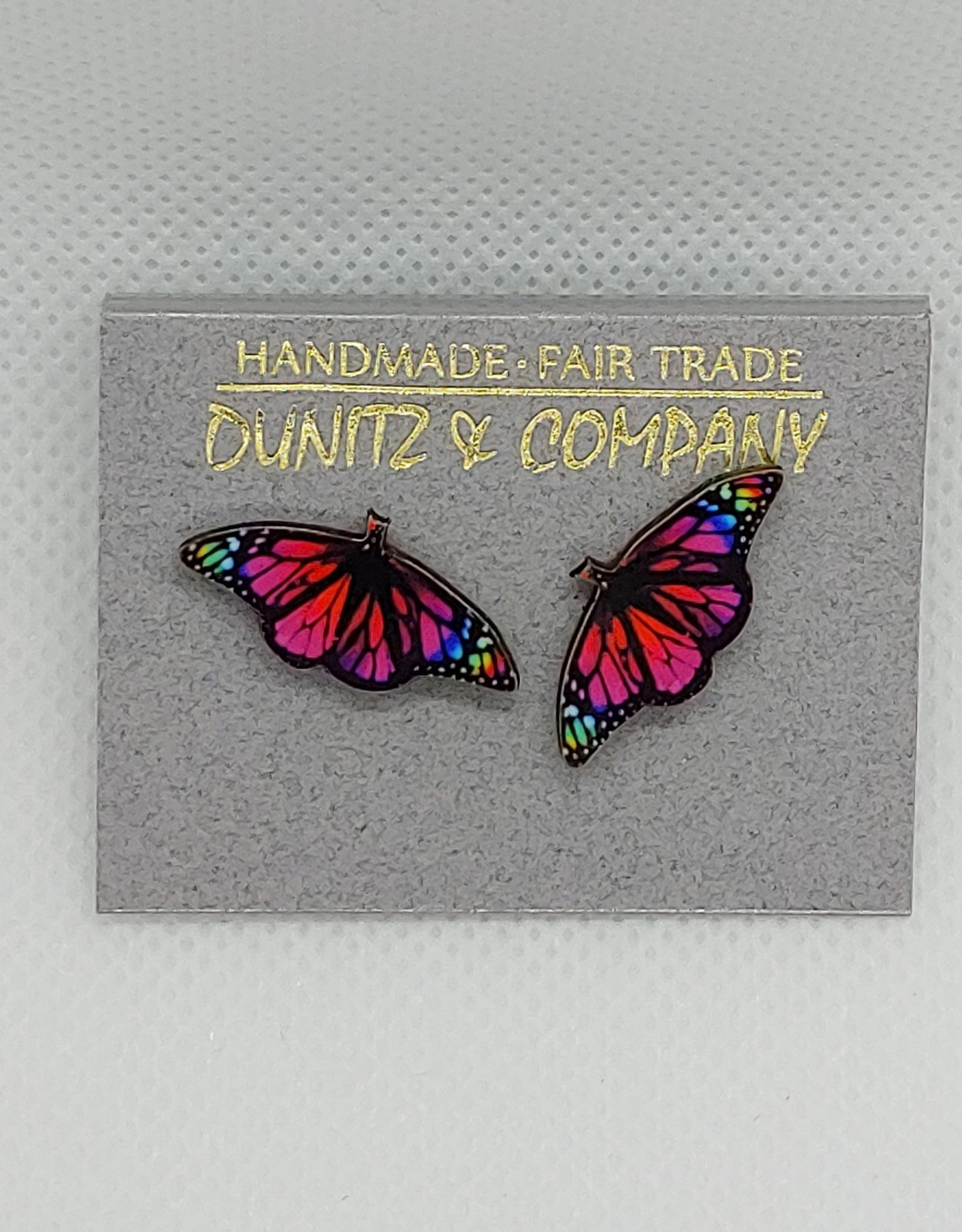 Butterfly earrings, Pink/Multi, Studs
