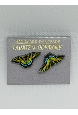 Butterly Earrings, Studs, Green/Blue