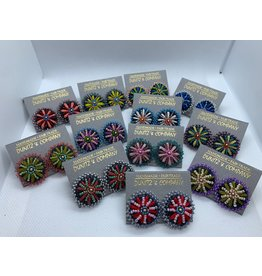 Denim Embroidered Flower Studs, Assorted Colors