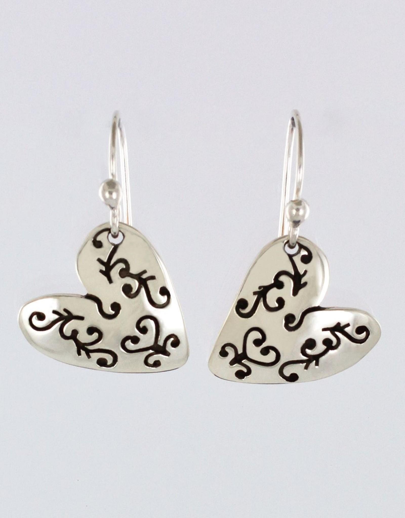 Sterling Silver Heart w/ Cutout Earrings