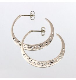 Sterling  Silver Medium Post Hoop, Mexico
