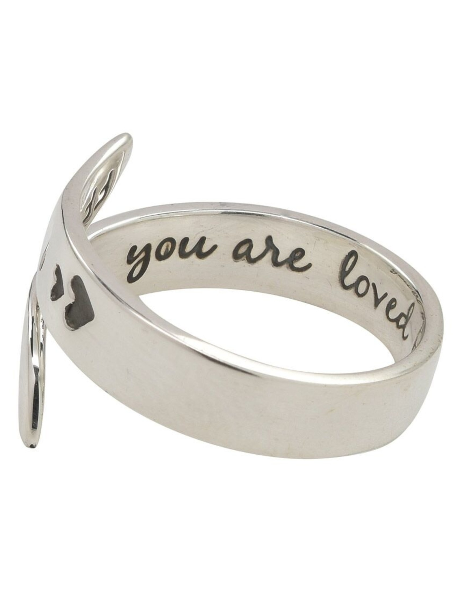 Sterling Silver You Are Loved Adjustable Ring
