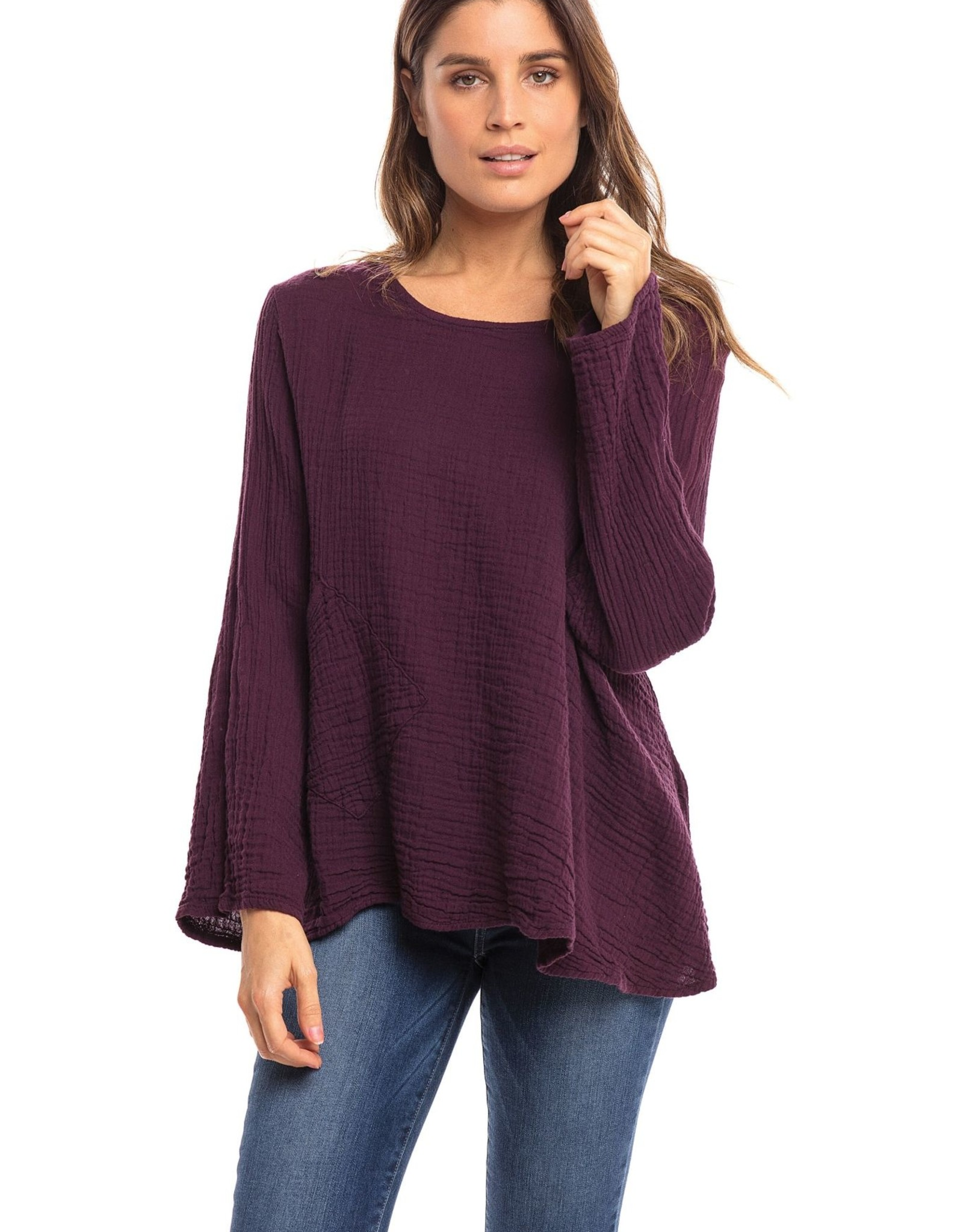 Thailand, Cotton One Pocket Boxy Top Long Sleeve Mulberry  O/S