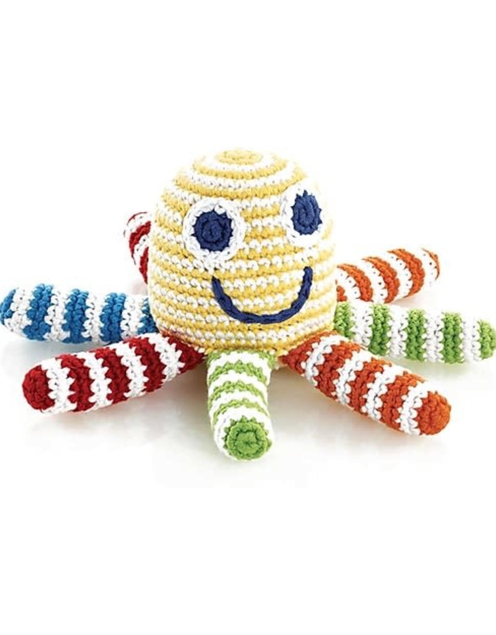 Crocheted Rattles Octopus Rainbow