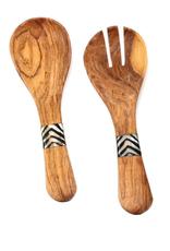"Small Olive Wood Serving Set w/ Inlaid Bone Handles, 8"""