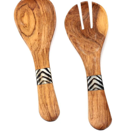 Small Olive Wood Serving Set w/ Inlaid Bone Handles, 8""