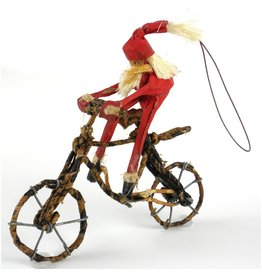 Santa on Bike Ornament, Nepal