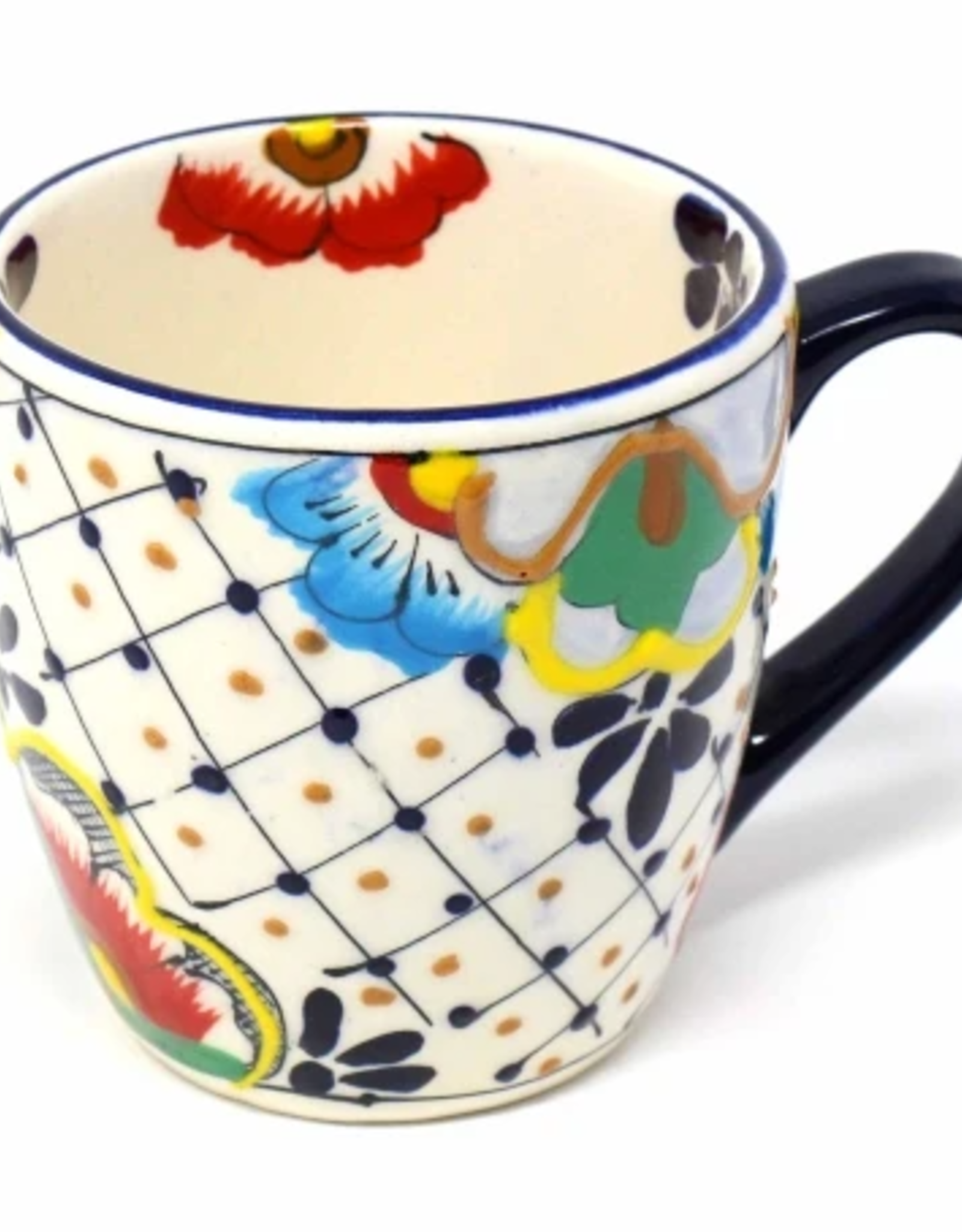 Rounded Mug Dots and Flowers, Mexico