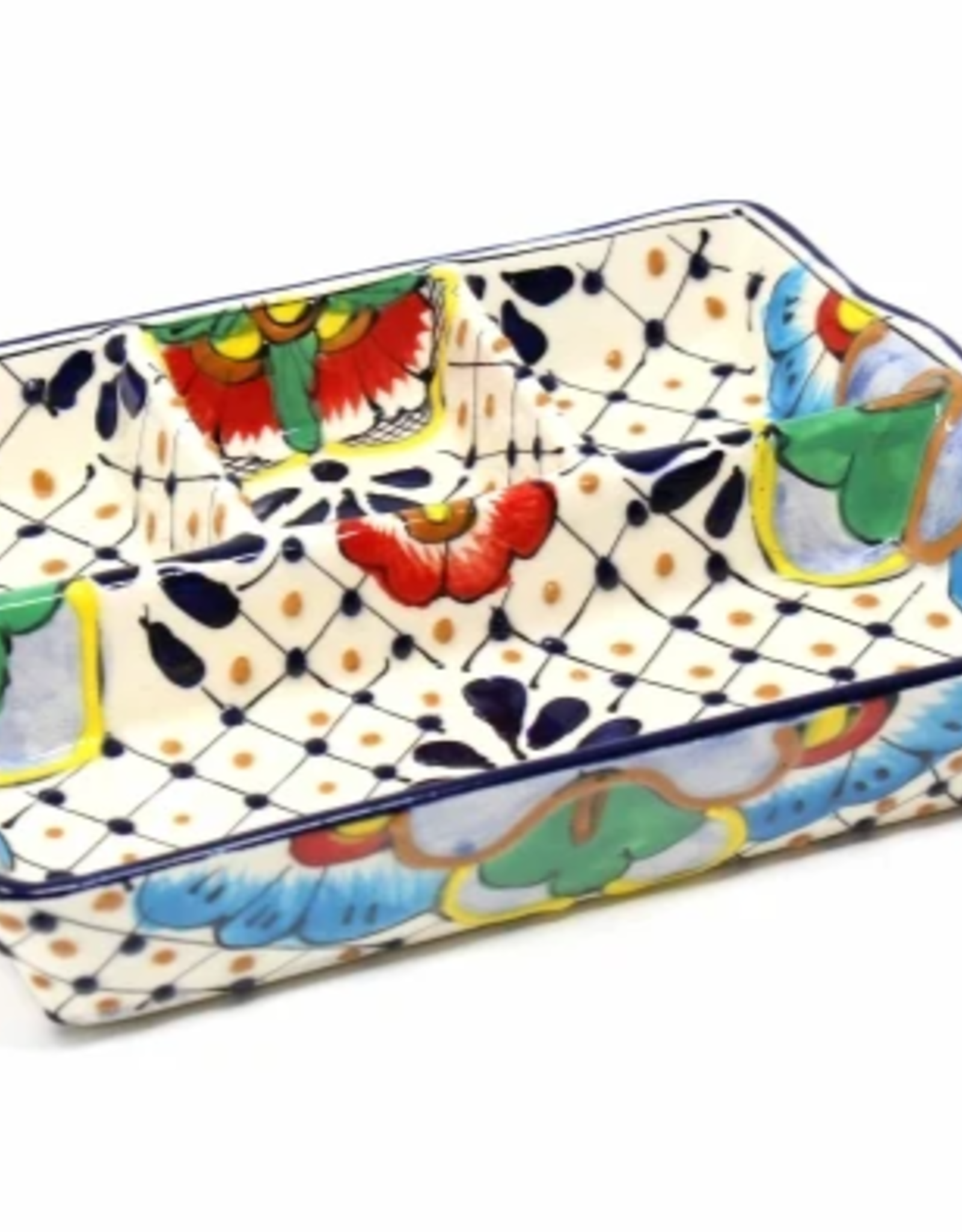 Mexico, Sectioned Serving Dish Dots and Flowers