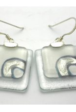 Clear Glass and Dot Earrings with Sterling