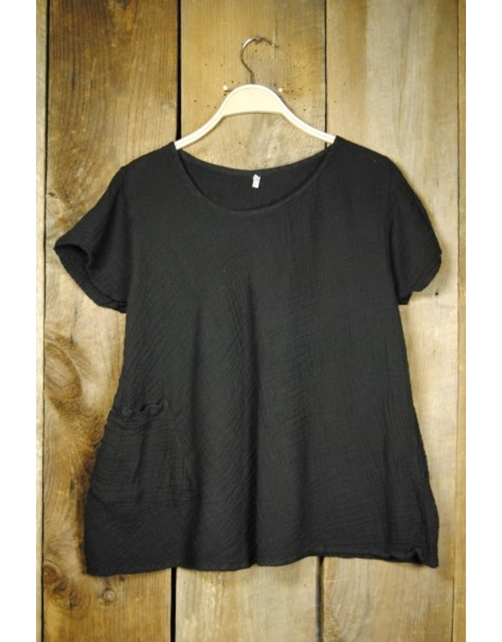 One Pocket, Short Sleeve, Black