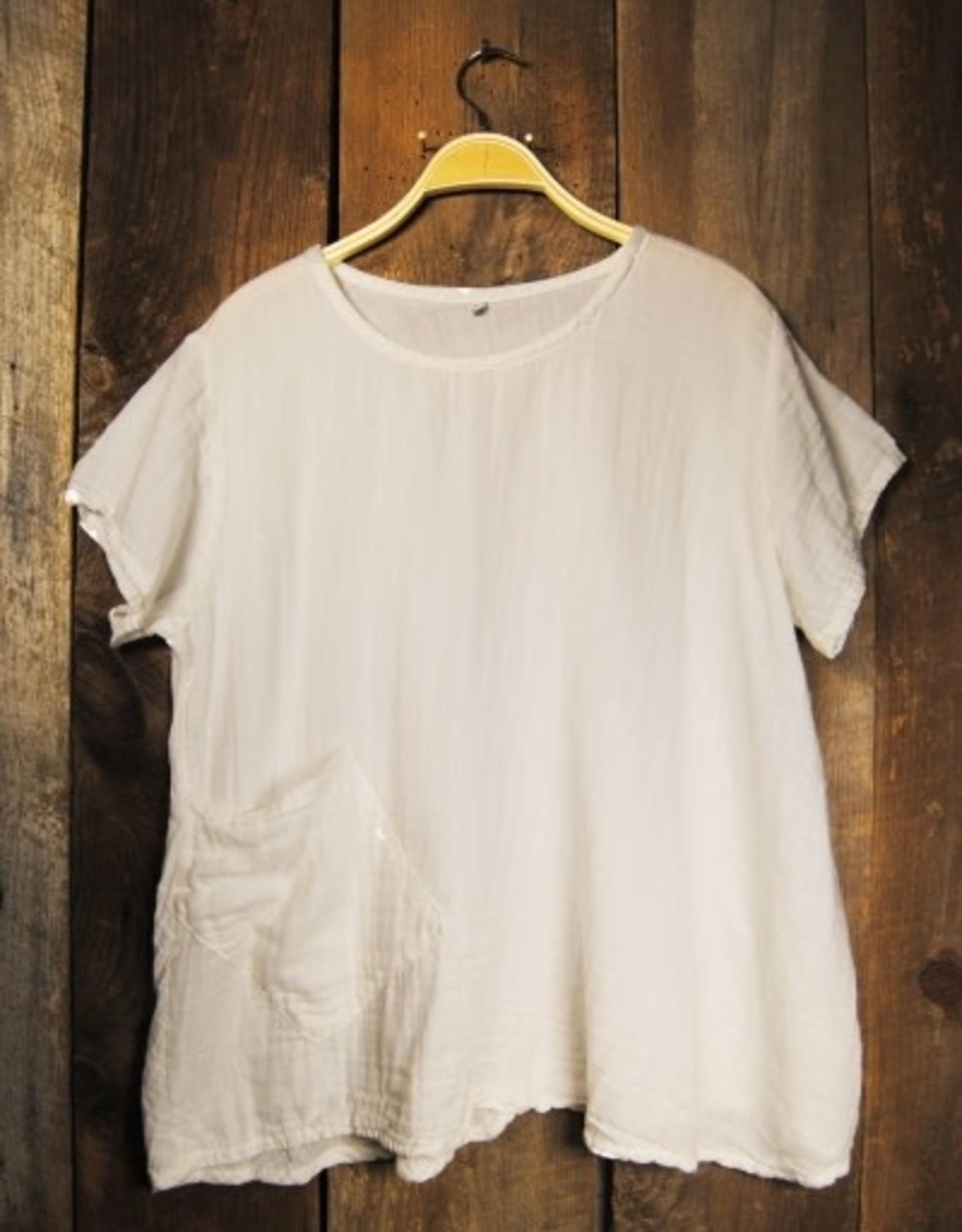 One Pocket, Short Sleeve, White