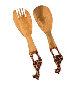 Mhugu Wood Salad Serving Set, Giraffe