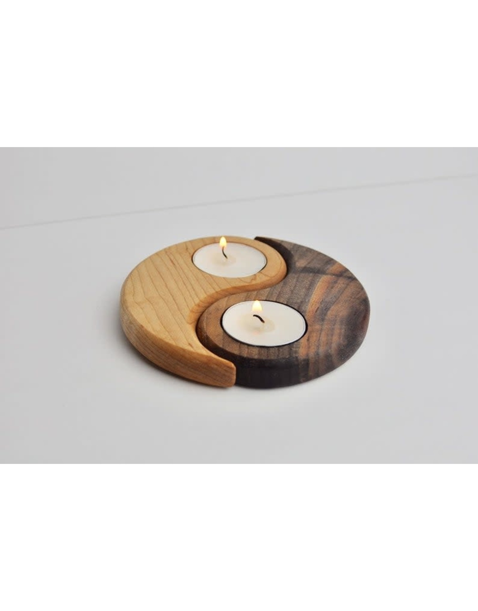 Olive Wood Yin Yang Tea Light Candle Holder