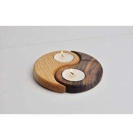 Olive Wood Yin Yang Tea Light Candle Holder
