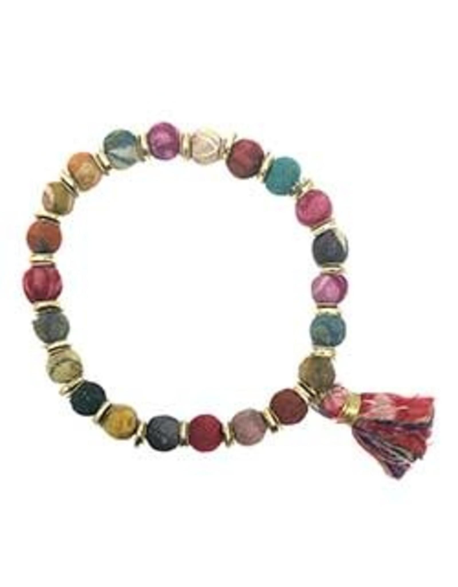Sequined Kantha Tassel Bracelet