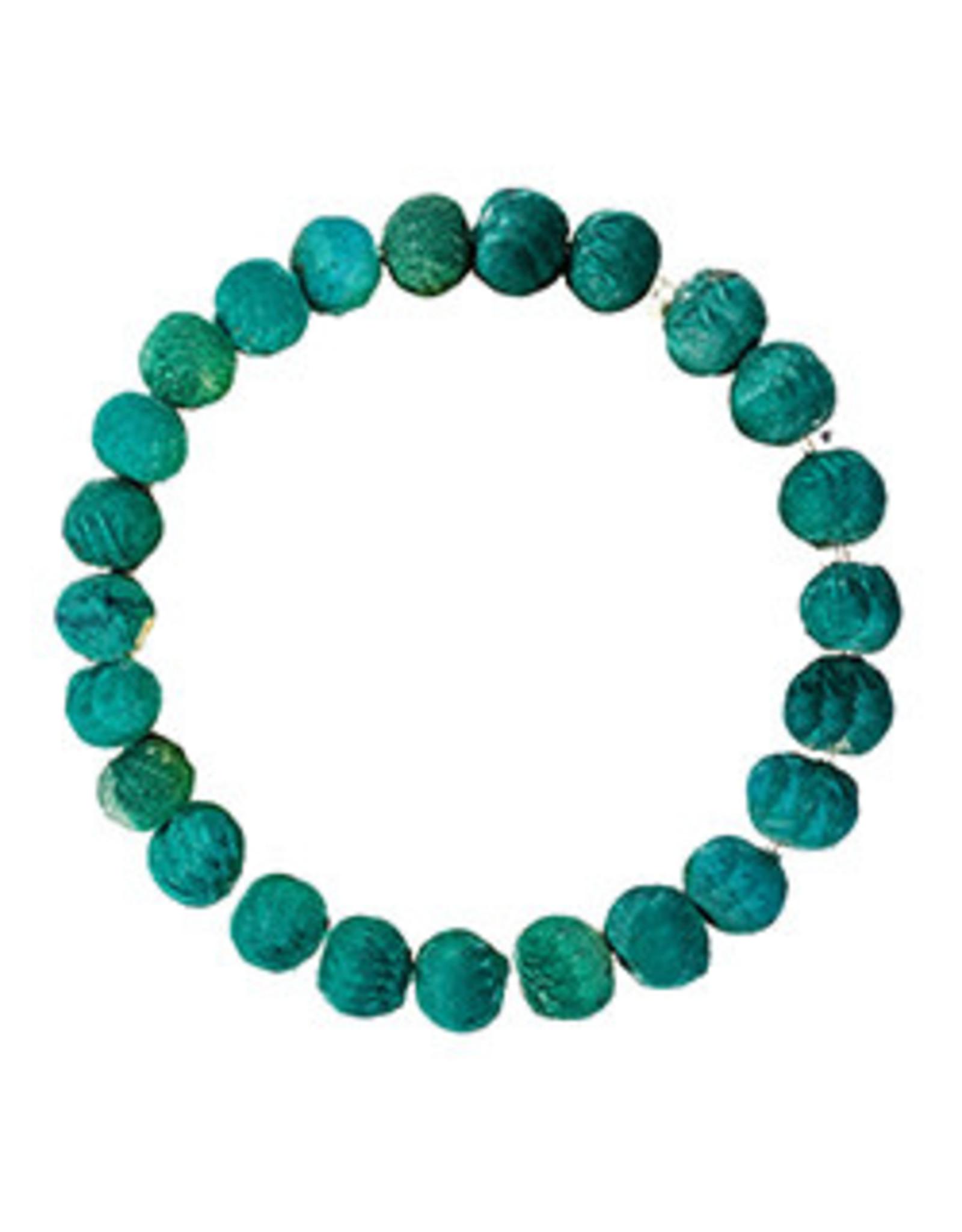 Kantha Chromatic Bracelet, Teal, India