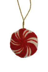 India, Felted Peppermint Drop Ornament