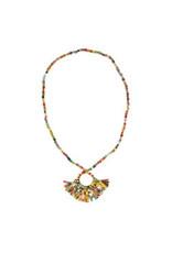 Fringed Kantha Hoop Pendant Necklace