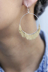 Delicate Fringed Chain Hoops