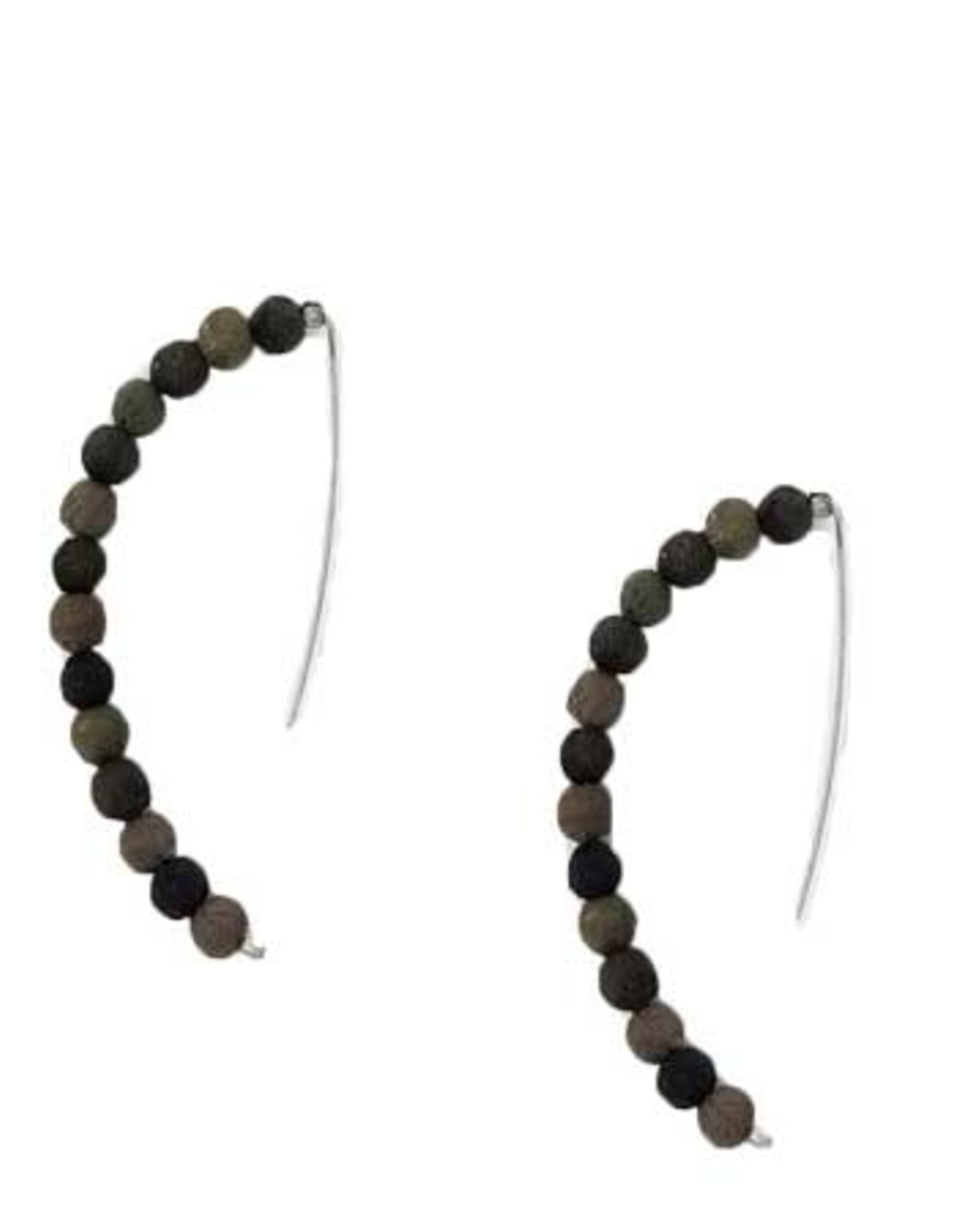 Kantha Noir Linear Arc Earrings
