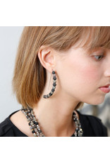 Kantha Noir Linear Arc Earrings